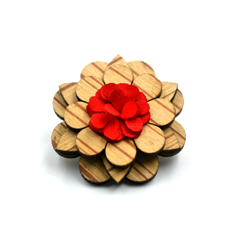 Fashion Handmade Wood Lapel Pins Mens Brooch Corsage Upscale Men's Suit Flower Brooches For Wedding(China (Mainland))