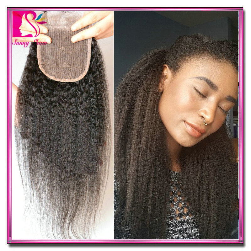 Cheap 7A Lace Closure Bleached Knots Peruvian Coarse Yaki Virgin Hair Kinky Straight Top Closures Middle Free 3 Three Part Style<br><br>Aliexpress