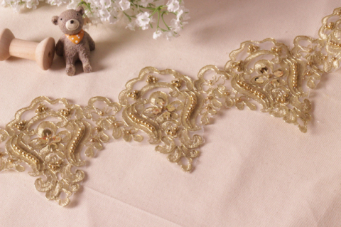 Beading Embroidery applique lace selvage Gold and silver flower beading trims off white/black 12cm(China (Mainland))