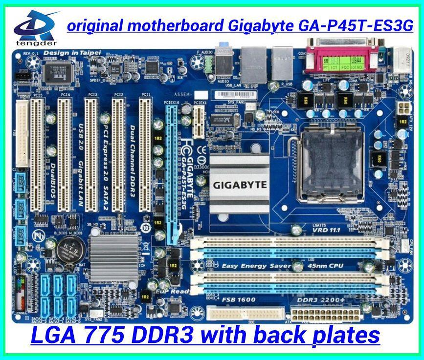 Gigabyte GA-P45T-ES3G original motherboard P45 Desktop motherborad P45T-ES3G LGA 775 DDR3 16GB ATX boards Free shipping(China (Mainland))