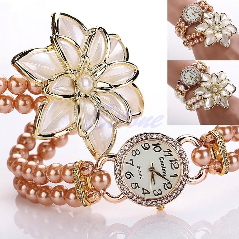 1PC Golden Faux Pearl Band Flower Rhinestone Bead Chain Bracelet Women Wrist Watch<br><br>Aliexpress