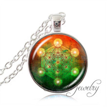 Flower of life pendant necklace metatrons cube pendant,sacred geometry jewelry glass dome art picture necklace for women men(China (Mainland))