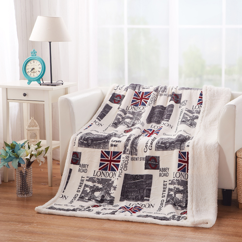 Promotion Unique Design London Fashion Anti-pilling Not Electric Soft Fleece Throw Blanket High Quality(China (Mainland))