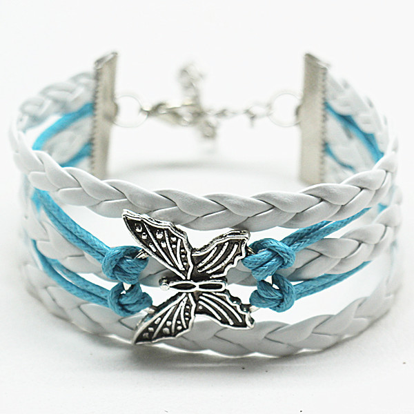 Punk Leather Multilayer Rope Infinity Braided Butterfly Charms Bracelets Wrap Bangles Wrist Bands Women factory price - Penney Beads store