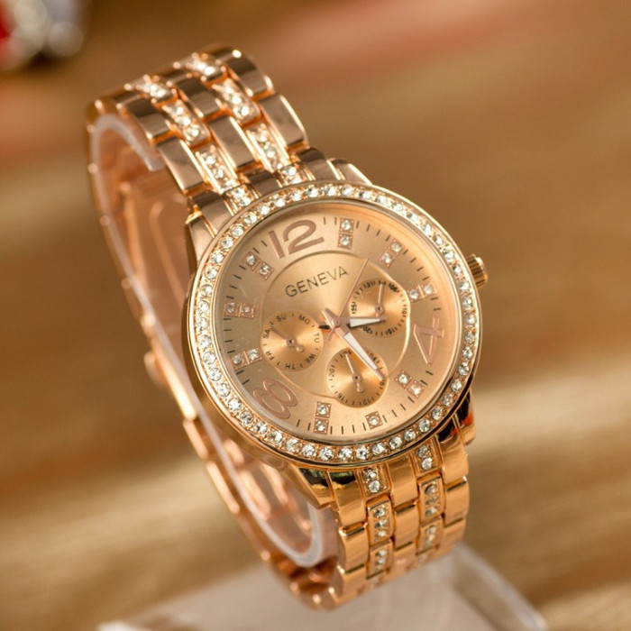 Famous Brand Men Women Rose Gold Geneva Stainless Steel Quartz Watch Military Crystal Casual Analog Watches