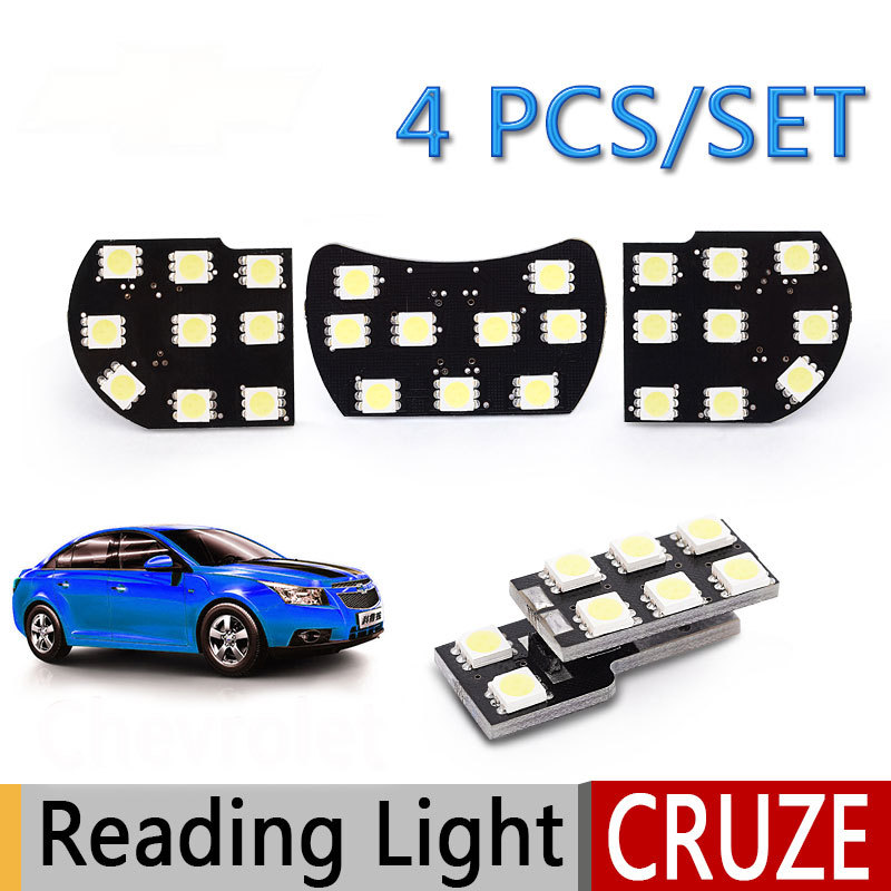4PCS/SET Cree LED Dome Lights+Trunk Lamp for Chevrolet Cruze Accessories Highlight 12V 10W Cold White/Blue/Pink Car Styling(China (Mainland))