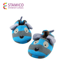 Pantofole per i bambini del ragazzo casa cane cotone invernali scarpe indoor suola in gomma anti-skid 3-8 anni blu hot(China (Mainland))