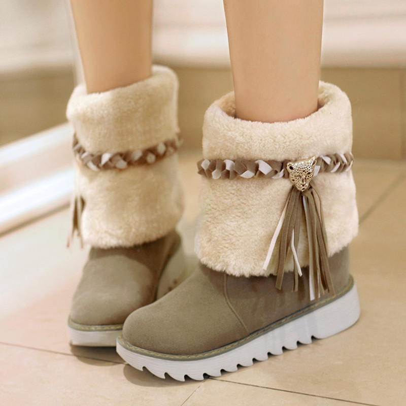 Flat heel shoes platform round toe ankle boots female thermal fur tassel boots,2014 new winter snow boots women,plus size34-43<br><br>Aliexpress