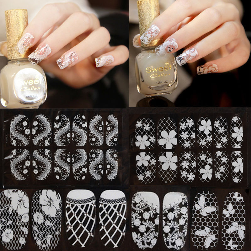1 x Sweet 3D Lace Nail Art Tips Sticker Decal Crystal New DIY Full Wraps Decorations 2015(China (Mainland))