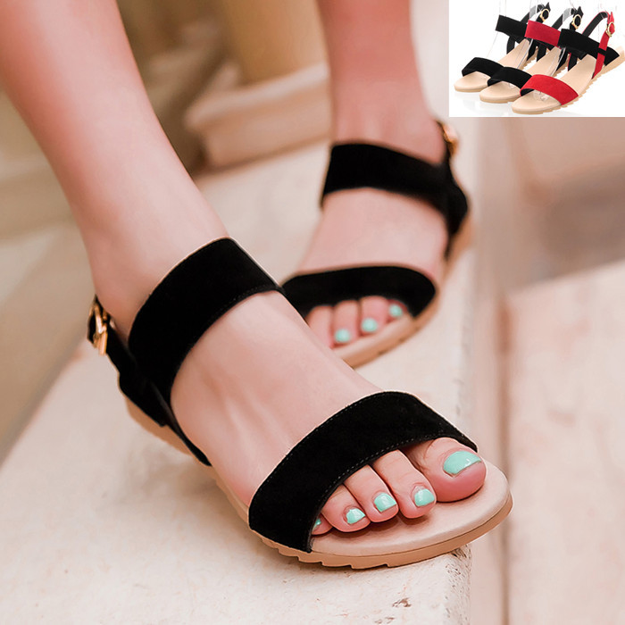 Ladies Sandals Beach Wedge Sandals Mixed Color Women Fashion Comfort Black Shoes Red Low Heels(China (Mainland))