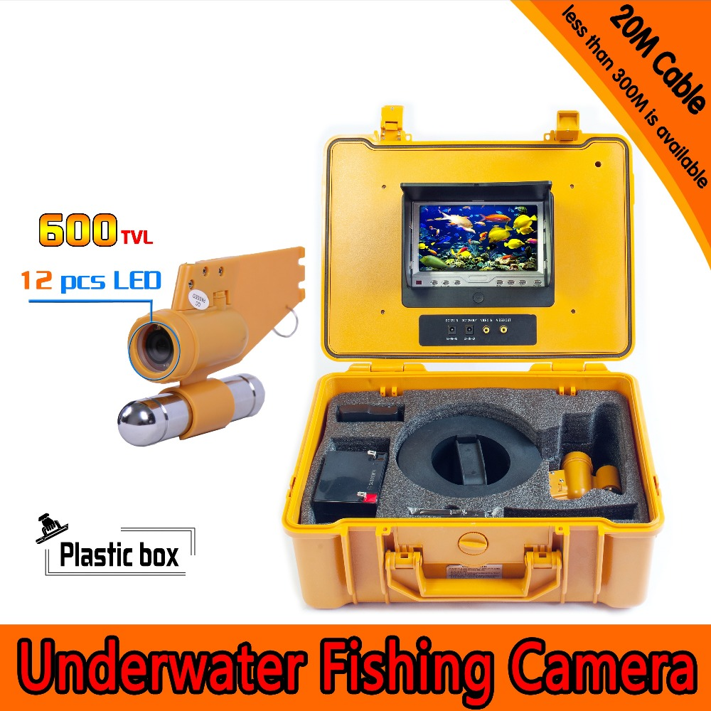 (1 set) Underwater Fishing Camera HD 600TVL 7 Inch Color Screen Display 12 IR white LED Night Version CCTV Fish Finder 20M cable(China (Mainland))