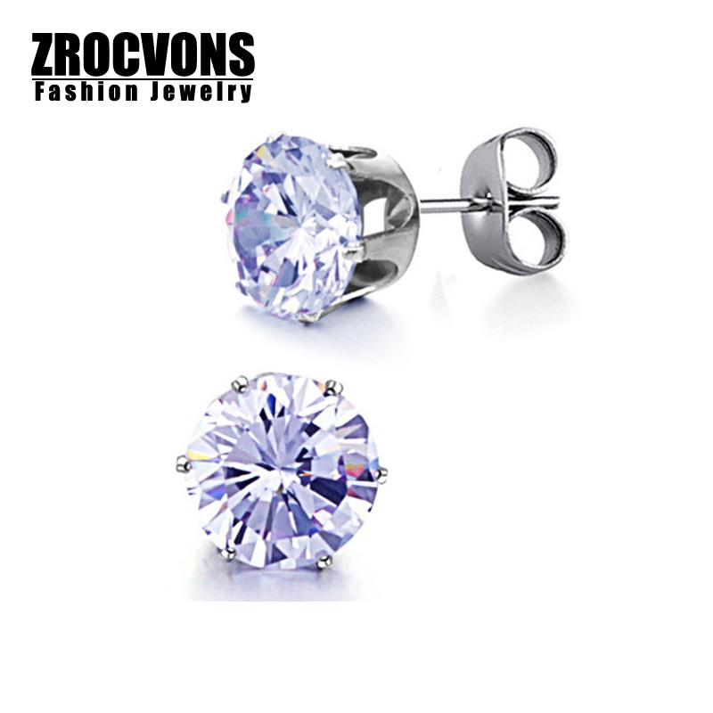 7 Color Women Earring Fashion Party Accessories Sparkling White Crystal Titanium Stud Earrings(China (Mainland))