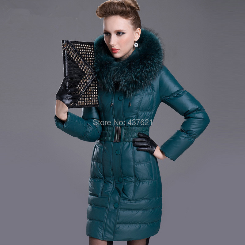 Arrival! 9Colors!Hot Sale!Large real Raccoon Fur Collar Skinnwille women's plus size medium-long coat brand jacket - Happy Time Store 437621 store