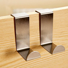 2 PCS Stainless Over Door Hooks Kitchen Cabinet Draw Towel Clothes Pothook can carry 10kg(China (Mainland))