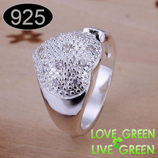 2015 Rhinestones import crystal Heart brand name wholesales 925 sterling silver jewelry rings korean jewelry for women resizable(China (Mainland))