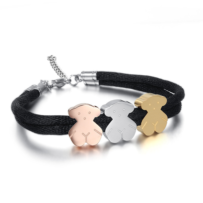 The New Titanium Steel Jewelry Cute Bear Cotton Rope Bracelet Small Jewelry Stainless Steel Bear Bracelet(China (Mainland))