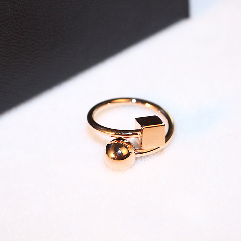 rose gold stud rings for women fashion Korean star ring anillos cube anillos ball wedding rings bague femme lord of the rings(China (Mainland))