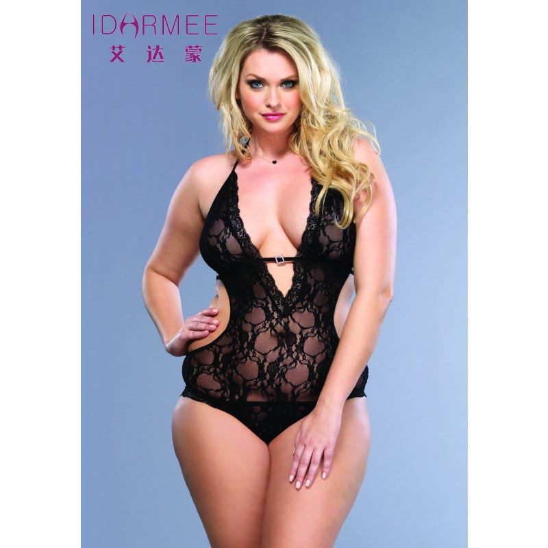 New Plus Size Lingerie Lace Teddy langerie Women Babydolls Sex Clothes Adult Transparent Lace Bodysuit XXL Free Shipping S6199(China (Mainland))