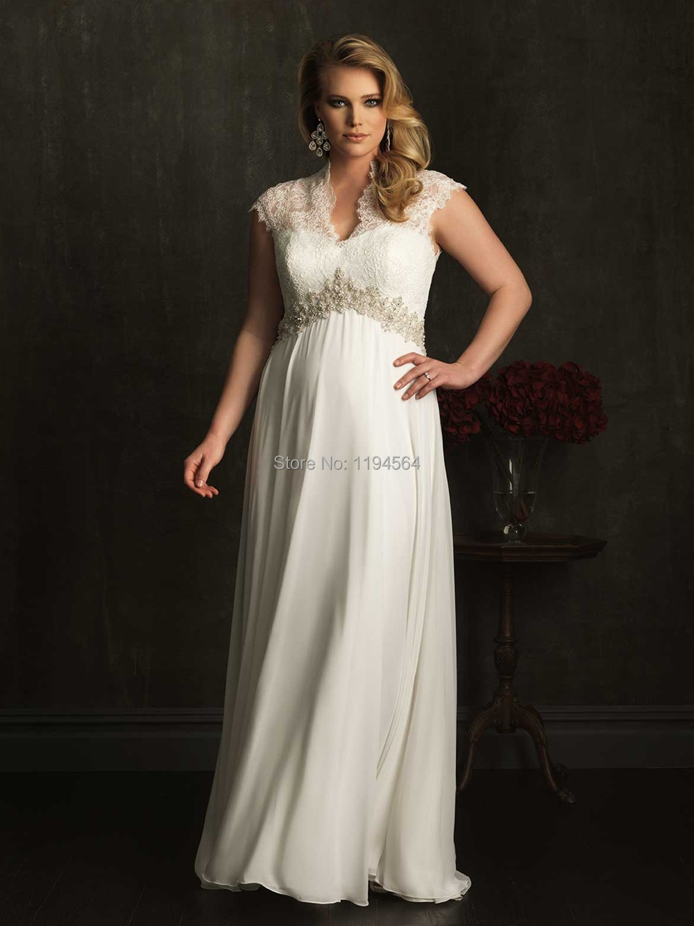 2015 new arrival modest v neck wedding dress plus size for Plus size illusion wedding dress