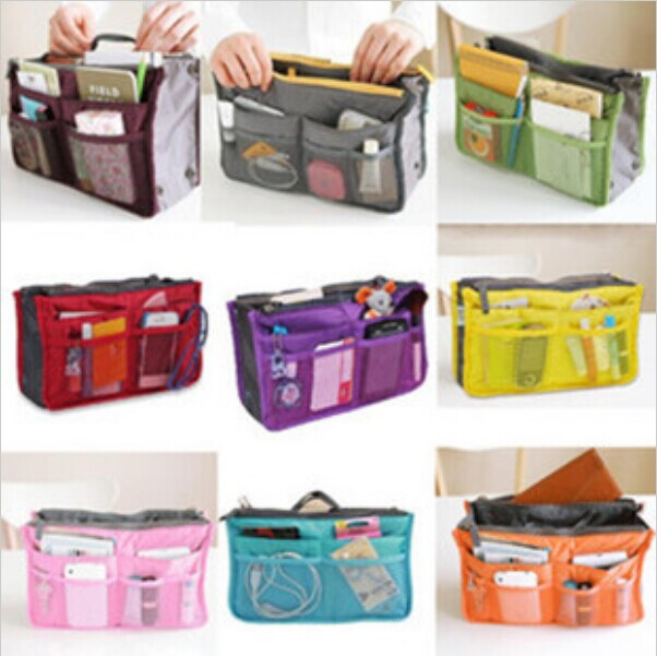 Large storage bag Hot necessaire women Purse Handbag Organizer Organiser Travel Travelling Bag Insert Liner cosmetic bag(China (Mainland))