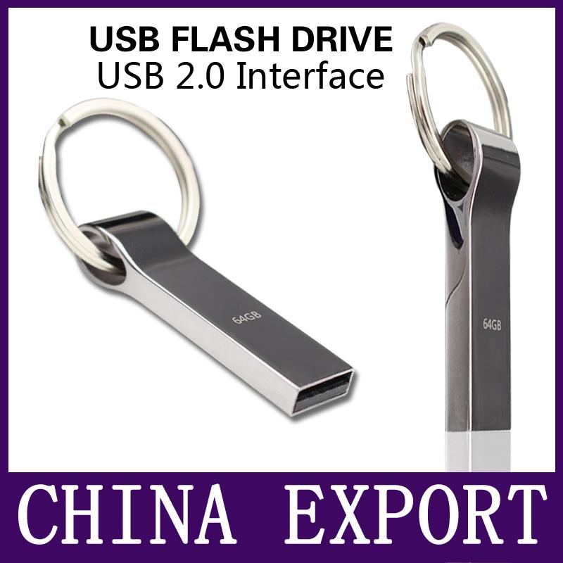 Waterproof Metal Silver usb flash drive pen drive 64GB 32GB 16GB 8GB 4GB pendrive with key ring u disk memory disk usb 2.0(China (Mainland))
