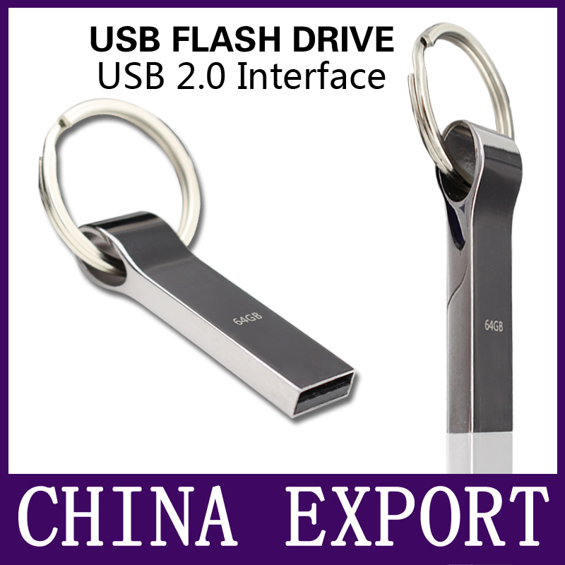 Waterproof Metal Silver usb flash drive pen drive 64GB 32GB 16GB 8GB 4GB pendrive with key ring u disk memory disk usb 2.0(China (Mainland))