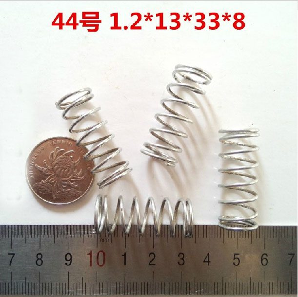 1.2x13x33mm,8 laps,small/short/mild steel Compression spring,1.2mm wire diameter,High pressure spring 50pcs/lot(China (Mainland))