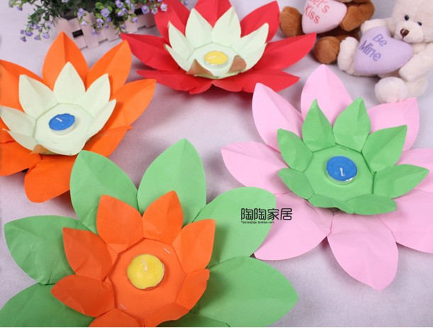 Wishing Lamp lotus lamps Paper Flower Lotus Wish Lantern Water Floating Candle Light Yellow(China (Mainland))