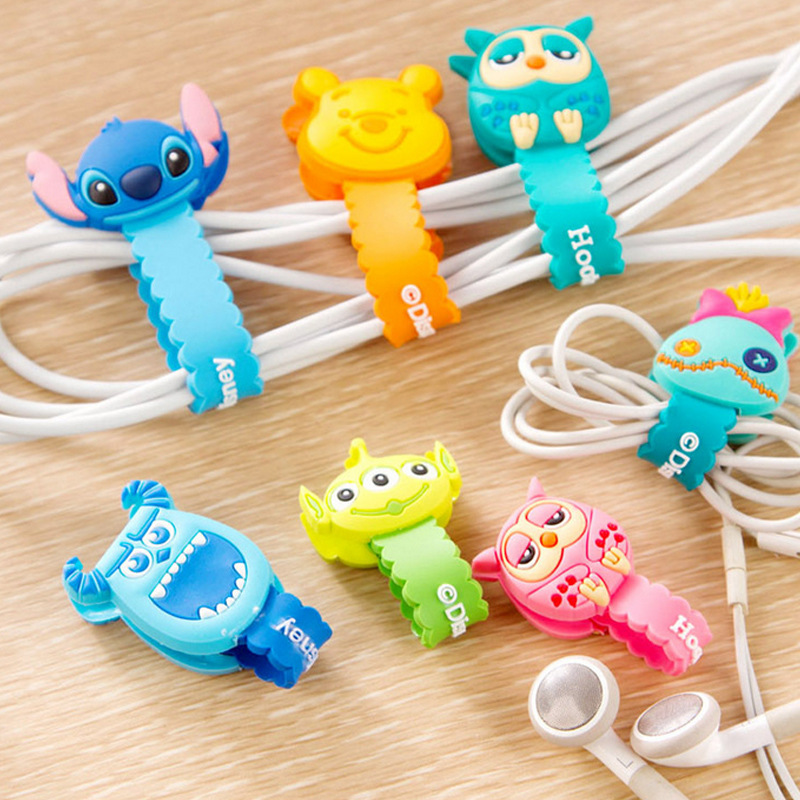 10pcs/lot Lovely Stitch Donald Duck Cartoon Cable Winder Headphone Earphone Cable Wire Organizer Cord Holder For iphone samsung(China (Mainland))