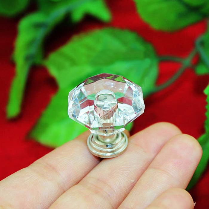 25mmX24mm Acrylic Furniture Knobs Transparent Crystal Drawer Pulls for Kids Room Door Cabinet Wardrobe Dresser Handle Knob(China (Mainland))