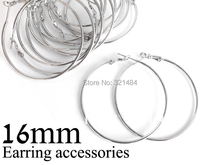 Bulk 500pc/lot rhodium plated 16mm french circle hooks earring backs hoop earring findings for jewelry making supplies