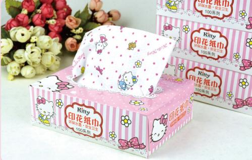 Kawaii NEW Hello KITTY Prints Sanitary Paper Tissue CAR BOX Sanitary Using Paper Napkins & ServiettesTissue Paper(China (Mainland))