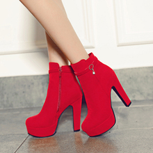 Buy Women Ankle Boots High Heels 2016 Fashion Shoes Woman Platform Flock Zipper Winter Boots Ladies Shoes Female Botas Plus size 43 for $27.89 in AliExpress store