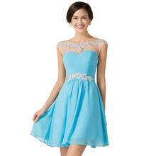 2017 New Design A-line Short Dresses Scoop Neck Cocktail Party dress Lace-up Veatidos de Festa Abito Cocktail Dress Blue 7536(China (Mainland))