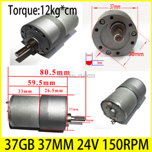 Buy DC 24V motor 37GB 37MM 150RPM High-powered Torque 12KG*CM high torque gear box motor gearmotors CNC motor for $18.88 in AliExpress store