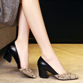 2017 New Hot Sexy Snakeskin Style Pointed Toe Women Pumps Square Heels Shoes High heeled Women