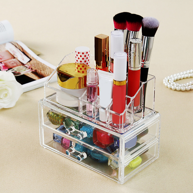 Desktop Acrylic Makeup Organizer For Cosmetics and Jewelry Office Desk Accessories Large Plastic Storage Cabinets With Drawers(China (Mainland))