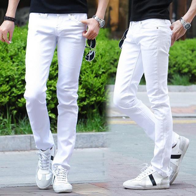 Новая коллекция весна и лето 2014 мужская большой размер мужские белые джинсы корейской ...