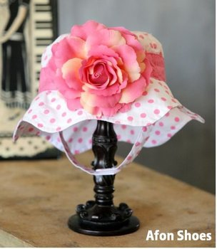 baby hats, fashion baby big flower sun hats, baby white hat with pink dots