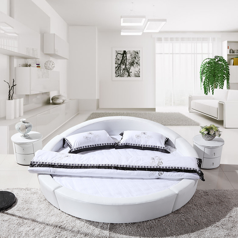 leather bed modern round bed beds 2 m soft bed in beds from furniture