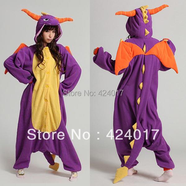 2015 Fashion Adult Pajamas Cosplay Costume Japan Anime Purple Spyro Dragon Cute Flannel Animal Onesie Pyjama - Xin Hui Currents store