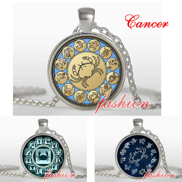 Zodiac Necklace Cancer Pendant Celestial Zodiac Theme Statement Jewellery Unusual Necklace Astrological Necklace Crab Jewelry(China (Mainland))