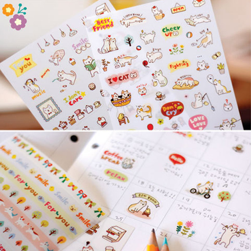 Cute Lovely 6 Sheet Paper Stickers for Diary Scrapbook Notebook Wall Decor DIY Cartoon Scrapbooking Stickers Children Play Toys(China (Mainland))