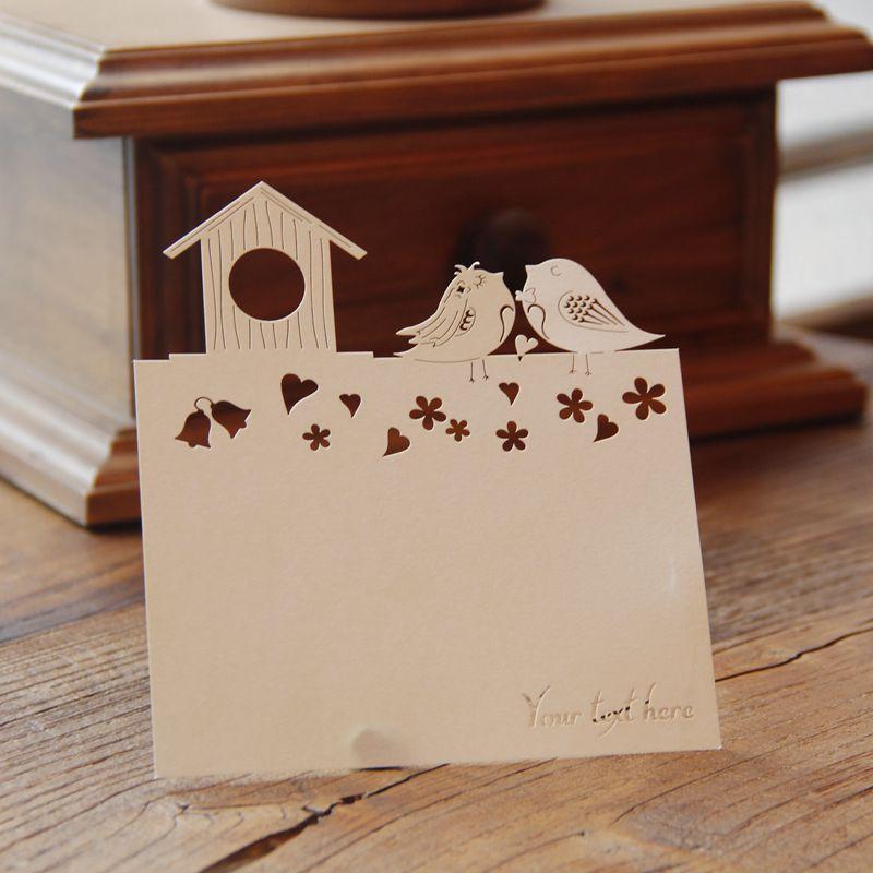 50 Pcs Corte A Laser Amoroso Casal Pássaros Bonitos Do Convite Do Casamento Cartões de RSVP Com Envelope Presente de Natal Frete Grátis(China (Mainland))