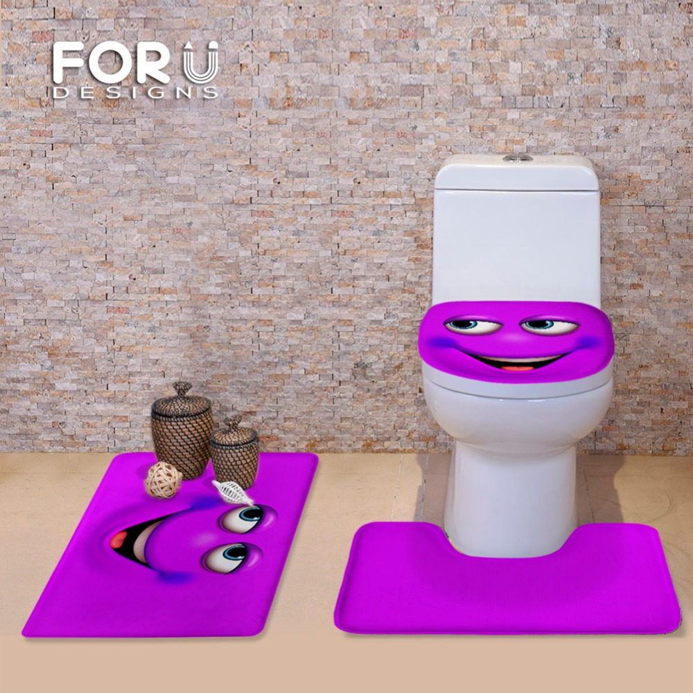 FORUDESIGNS Candy Color Emoji Bathroom Toilet Set Cover Wc