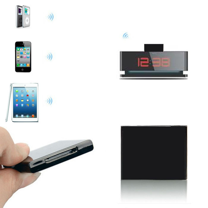 New arrival Bluetooth Music Audio 30 Pin Receiver Adapter For iPod iPhone Dock Speaker Black Free shipping(China (Mainland))
