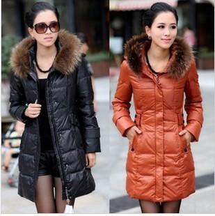Hot selling 2015 winter stylish fur medium-long down jacket with belt women's skinny warm long parkas ladies thickening outwear