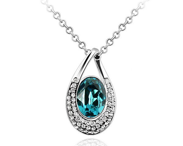 Blue Pendant Unique Wedding Necklaces For Men & Women Statement Jewelry Made With Swarovski Elements Crystal White Gold Plated(China (Mainland))