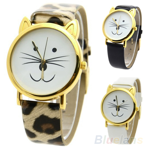 Lovely Cute Cat Face Shape Girls Dial Gold Color Rim Beard Alloy Faux Leather Strap Watch For Women Gift<br><br>Aliexpress