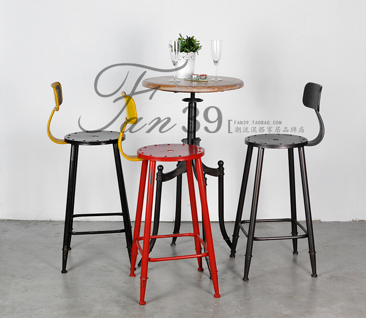 American country to do the old wrought iron bar chairs retro style mining industry wind Barstools leisure furniture<br>